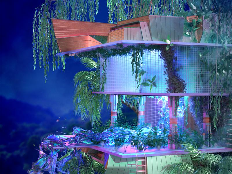 🌳 tropical art deco retro futuristic cinema 4d treehouse house architecture scene environment 3d