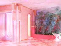 ✨ pastel retrofuture surreal 3d interior design architecture room pink digital art cinema 4d