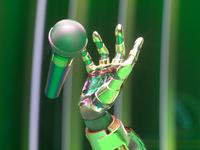 🎤 hand microphone neon robot cyborg futuristic cyberpunk cinema 4d 3d art 3d