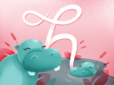 H is for Hippo! hippo typedesign type illustration 36daysoftype