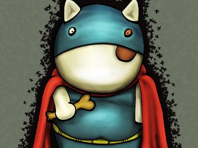 Building Character - Super Chico character digital painting dog pit bull super hero batman illustration
