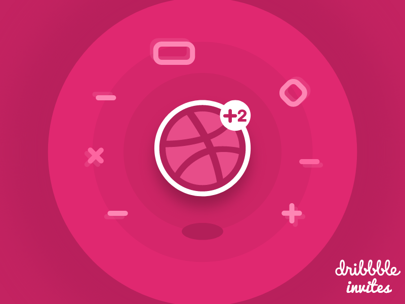 Dribbble Invite 2x dribbble invite elements 3d logo ticket invite dribbble