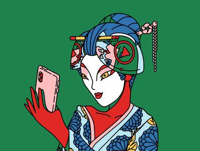 Geisha character vector illustration