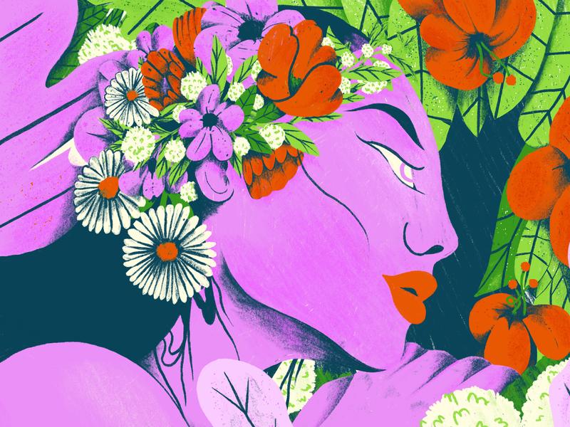 The Muse procreate botanical illustration girl muse