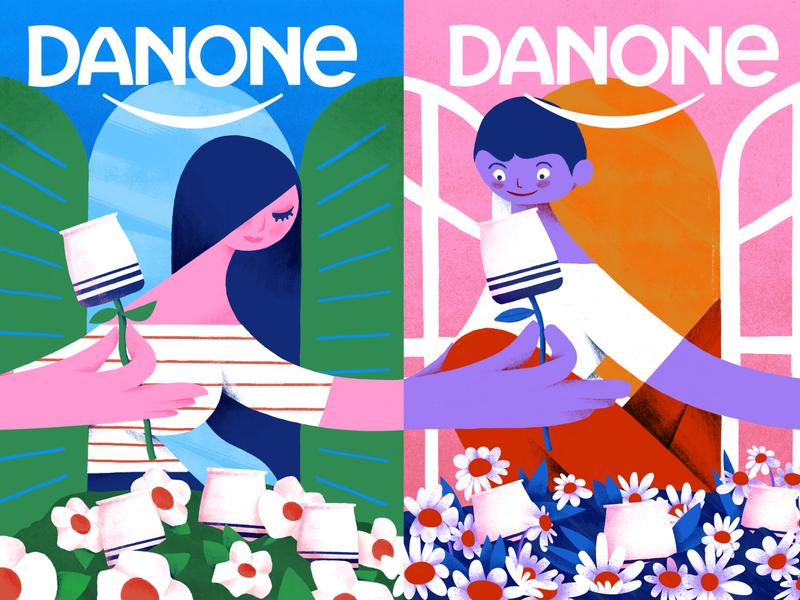 Danone brazil brush pen brushes character design. mobile game oldschool danone photoshop procreate brush illustration