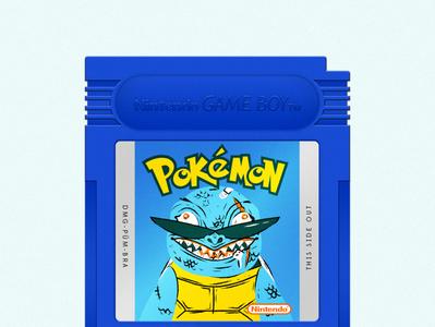 Pokémon Blue catridge videogames adobe illustrator vector illustration gameboy squirtle blue pokemon
