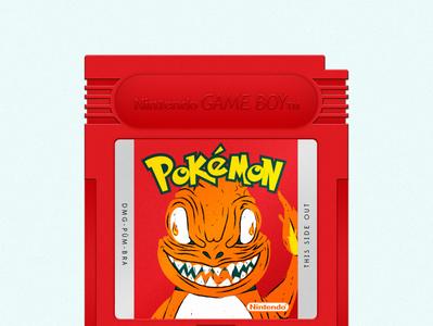 Pokémon Red adobeillustrator illustrations catridge illustration videogames videogame gameboy pokémon