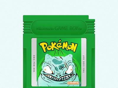 Bulbasaur vector adobe illustrator illustration catridge videogames videogame pokemon gameboy green bulbasaur