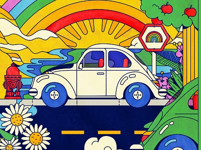 VW Beetle rainbow colorful hippie beetle vw volkswagen vector illustration