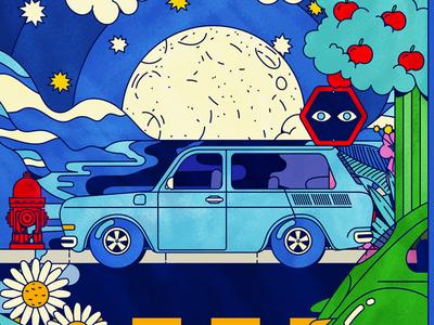 VW Variant colorful hippie car variant volkswagen vw vector illustration