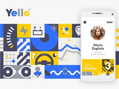 Yello app identity branding illustration ux ui app