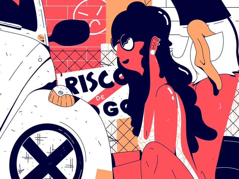 VW Girls fusca cars vw brazil vector character illustration