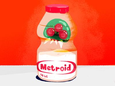 Metroid snes yakult brush nintendo metroid illustration