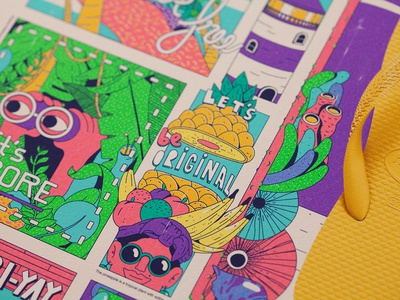 Let's Summer Havaianas flip flops lettering graphic design motion brazil vector illustration
