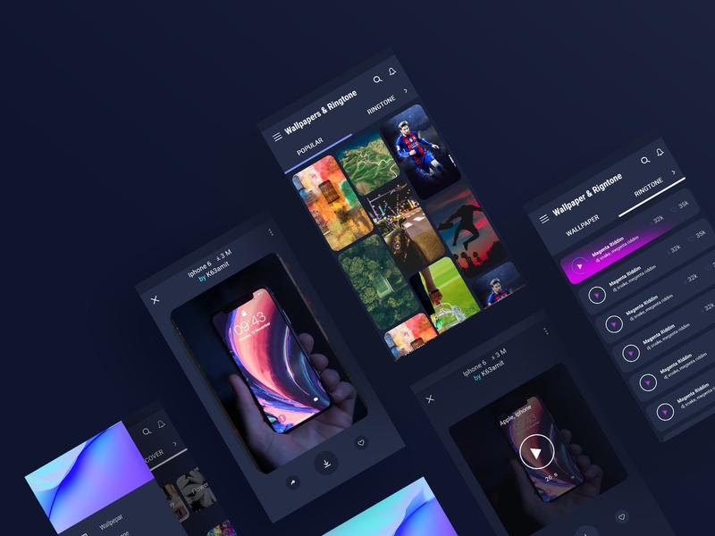 Andoird Wallpapers & ringtone App andoird pirala typography design illustration web app web clean ui branding logo app design app