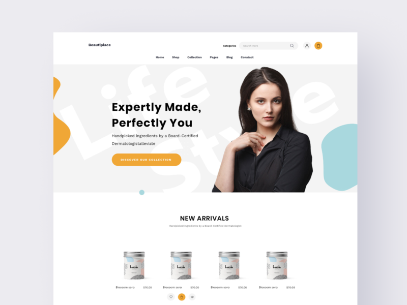 Cosmetics Webdesign header pirala experience typography ui clean minimal branding agency website design