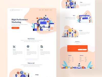 Landing Page landing page design minimal typogaphy branding agency header ui business illustrations design website landing