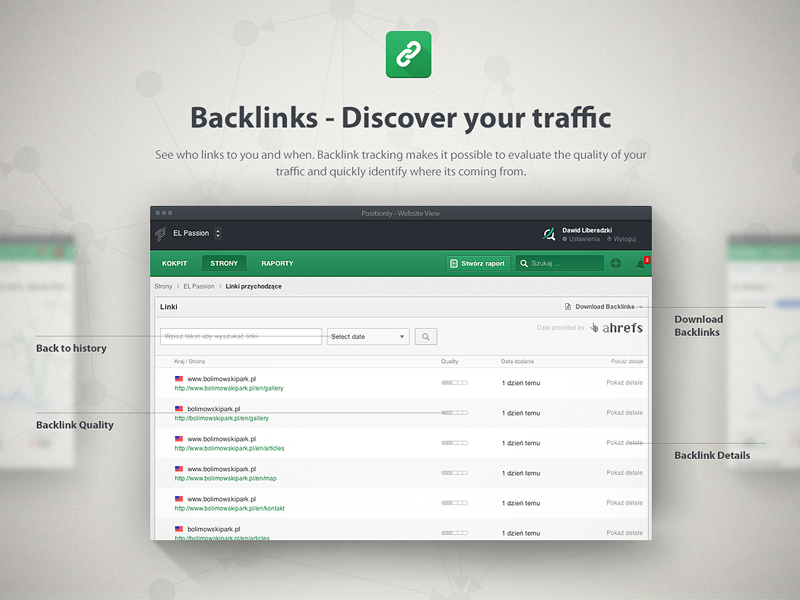 Backlinks Positionly Landing Page seo backlinks landing page shadow green ui