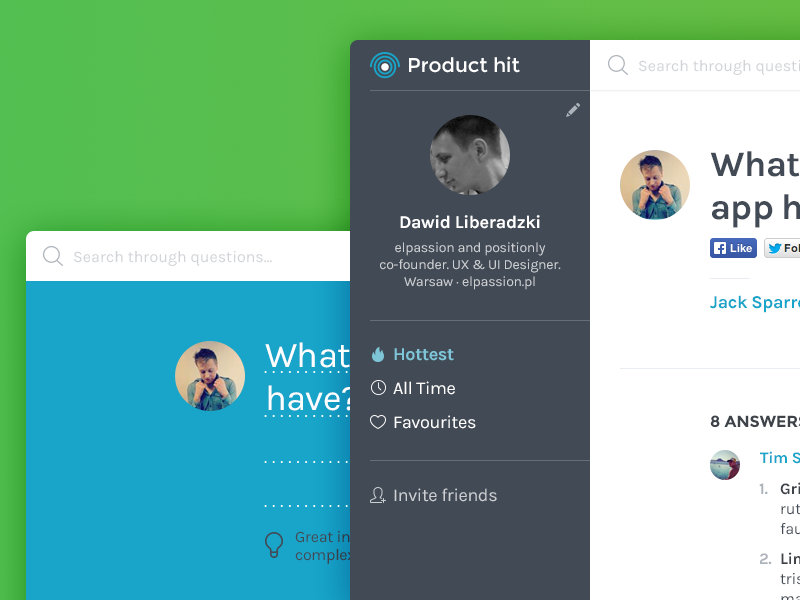 Producthit product blue green sidebar flat typo feedback