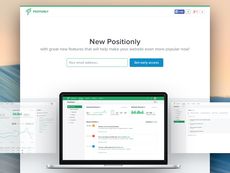 New Positionly - Beta Landing positionly beta ui design green landing