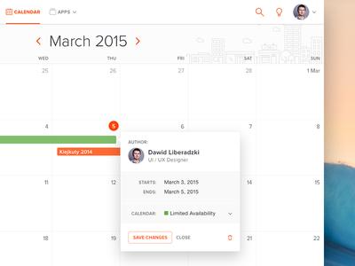 Jus for fun fun calendar orange date flat light app ui