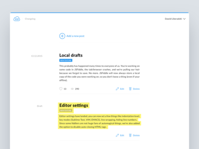 Headway - your public changelog product blue changelog light white