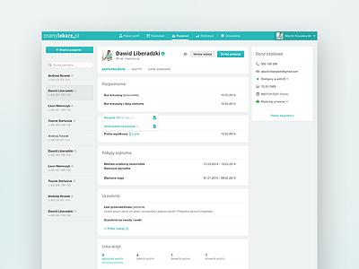 Docplanner - patient profile docplanner cyan ux ui interface light edm znanylekarz medic