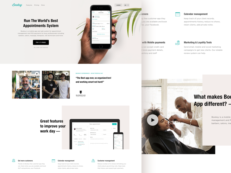 Booksy for Customers - landing page helvetica condensed tiles promo bw black hand mobile photo landing page light booksy