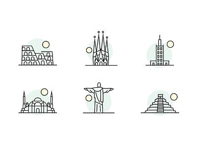 Icons for Docplanner landmark outline city illustration mexico brazil italy turkey spain poland icon