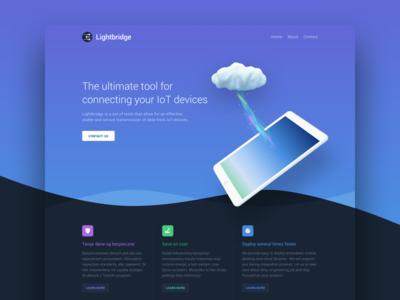 Lightbridge software website cloud ipad landing page gradient blue dark
