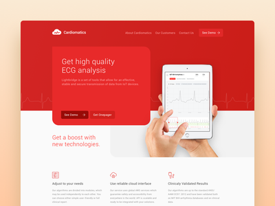 Cardiomatics Preview online contrast light fonts ipad medic health website landing page red