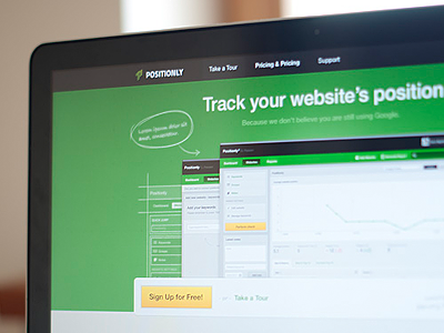 Positionly landing page landing page promo green photo positionly screen poland