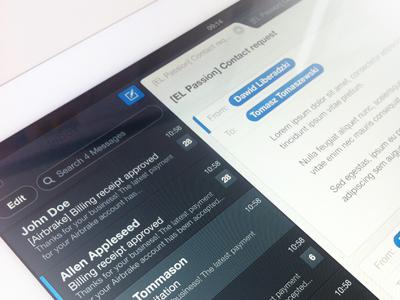 Ipad Mail Client ipad mail client ui inteface mobile blue inbox poland