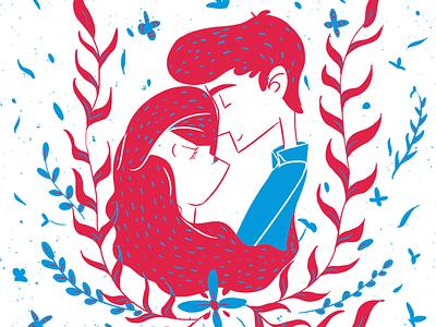 Love print ariel blue red color design illustration