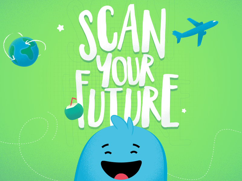 Scan your Future - Radnet joy smile future concept green character art direction typography blue creative print illustration design color
