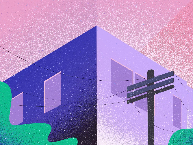 Home - InfinitePay pink sky green purple desenho tree house home texture concept art direction creative print illustration design color