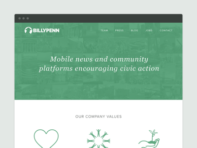 Billy Penn Corporate Website philadelphia platform civic news community corporate flat ux ui web