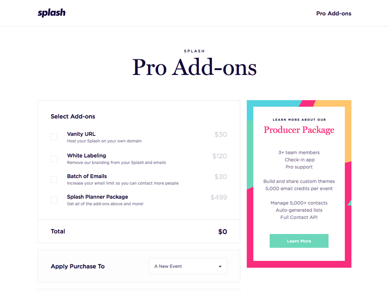 Splash Pro Add-On Page clean table pricing