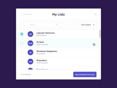 Bulk Contact Adder UI Refresh table checkbox modal