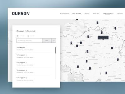 Store locator web design field form search interactive map locator clean ux ui webshop store