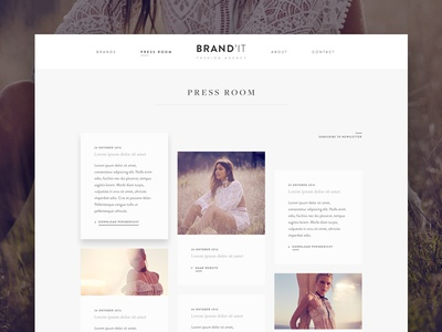Press room masonry women website ux ui shop grid news fashion blog ecommerce brand