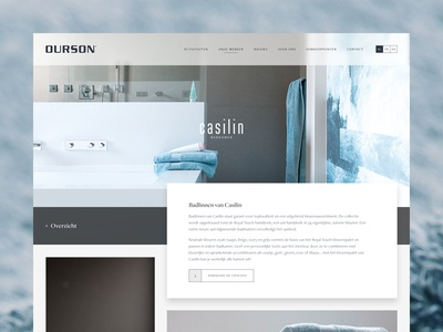 Brand page interior linen towels grid clean ux ui website design web page brand