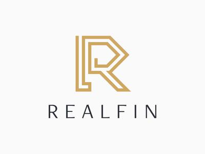 Realfin logo geometric lettering branding brand identity typography logotype logo finance financial estate real