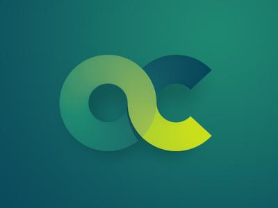 OC monogram line letters vibrant shadow identity abstract branding green brand gradient logo monogram