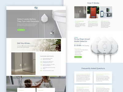 Flo Smart Water Detector Landing Page