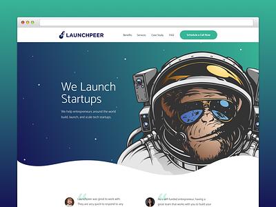 Launchpeer Landing Page website design space website web ux ui minimal landing page landing design