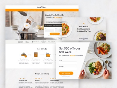 RealEats Landing Page and Ads food ad pinterest ads carousel facebook ads ads website web subscription cro lander landing page