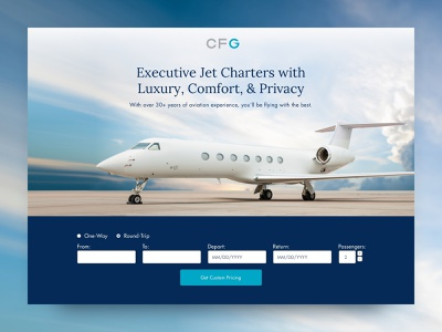 Charter Flight Group Landing Page Concept cro aviation leadgen website design web lander landing page