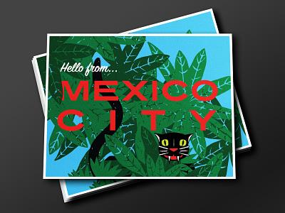Mexico City Postcard pets cats cat vintage vector illustration typography print design graphic design rebound printmaking lithography lithograph