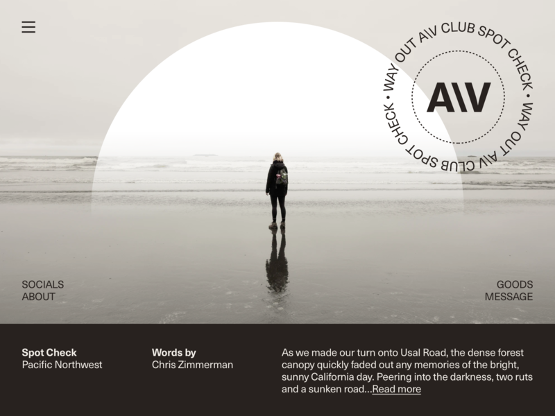 Way Out A\V Club™ Musings website ui typography type photography minimal grid layout grid design